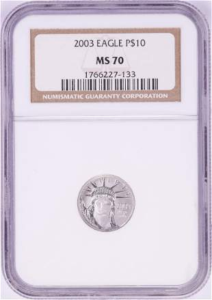 2003 $10 Platinum American Eagle Coin NGC MS70