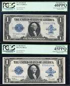 Changeover Pair of 1923 $1 Silver Certificate Notes
