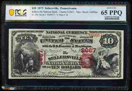 1875 $10 Sellersville, PA CH#2667 National Currency
