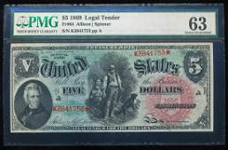 1869 $5 Rainbow Legal Tender Note Fr.64 PMG Choice