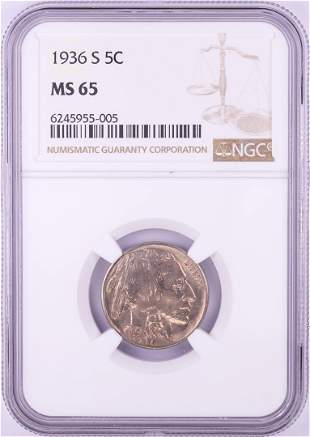 1936-S Buffalo Nickel Coin NGC MS65