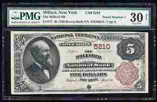 Serial Number 1 - 1882BB Milford, NY National Currency