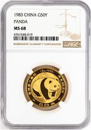 1983 China 50 Yuan Gold Panda Coin NGC MS68