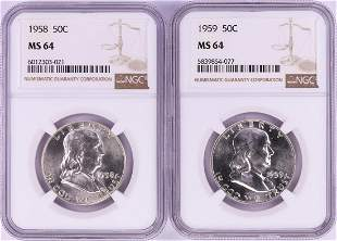 Lot of 1958-1959 Half Dollar Coins NGC MS64