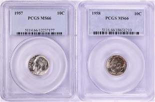 Lot of 1957-1958 Roosevelt Dime Coins PCGS MS66