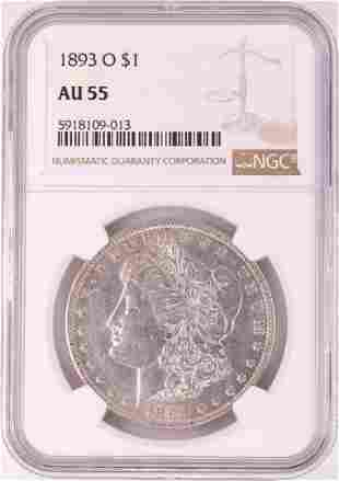 1893-O $1 Morgan Silver Dollar Coin NGC AU55