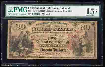1875 $20 First National Gold Bank Oakland, CA CH# 2248