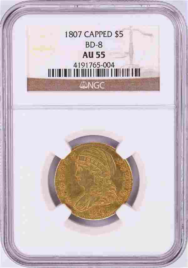 1807 $5 Capped Bust Half Eagle Gold Coin NGC AU55 BD-8