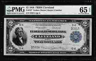 1918 $2 Federal Reserve Bank Note Cleveland Fr.757 PMG