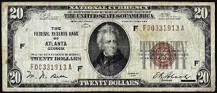 1929 $20 Federal Reserve Bank Note Atlanta