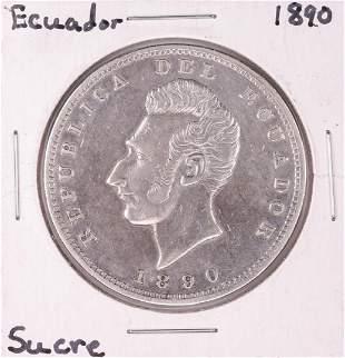 1890 Ecuador Lima Sucre Silver Coin