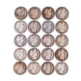Roll of (20) 1908-P/D/O/S Barber Half Dollar Coins
