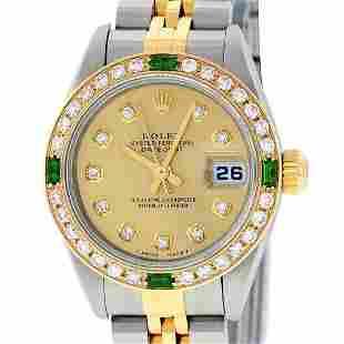 Rolex Ladies Two Tone Champagne Diamond & Emerald