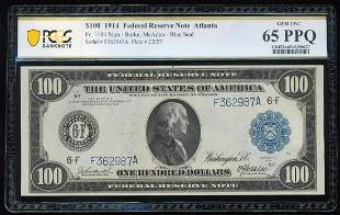 1914 $100 Federal Reserve Note Atlanta Fr.1104 PCGS Gem