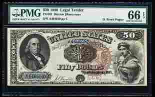 1880 $50 Legal Tender Note Fr.161 PMG Gem Uncirculated