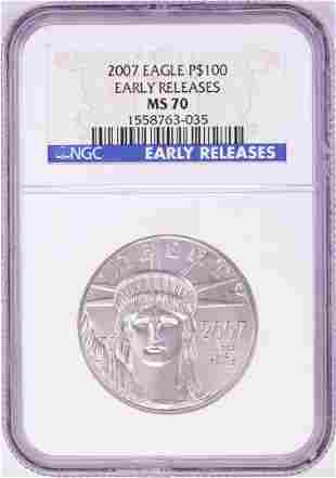 2007 $100 Platinum American Eagle Coin NGC MS70 Early