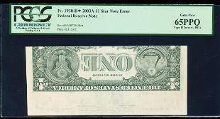 2003A $1 Federal Reserve STAR Note Type II Inverted