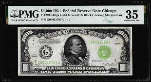 1934 $1,000 Federal Reserve Note Fr.2211-G PMG Choice