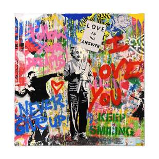 "Mr. Brainwash ""Einstein"" Signed Mixed Media"