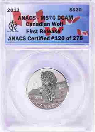 2013 $20 Canadian Wolf Silver Coin ANACS MS70 DCAM