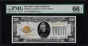 1928 $20 Gold Certificate Note Fr.2402 PMG Gem
