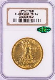 1907 High Relief $20 St. Gaudens Double Eagle Gold Coin