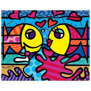 """Romero Britto """"New Deeply In Love"""" Print Giclee on"""
