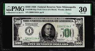 1928 $500 Federal Reserve Note Minneapolis Fr.2200-Idgs