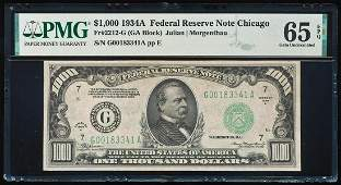 1934 $1,000 Federal Reserve Note Chicago Fr.2212-G PMG