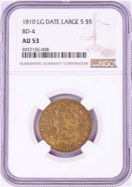 1810 $5 Capped Bust Half Eagle Gold Coin NGC AU53 LG