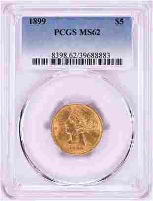 899 $5 Liberty Head Half Eagle Gold Coin PCGS MS62