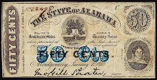 1863 State of Alabama Fifty Cents Obsolete Banknote