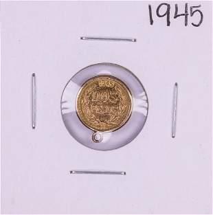 1945 Mexico Dos Pesos Gold Coin Pendant