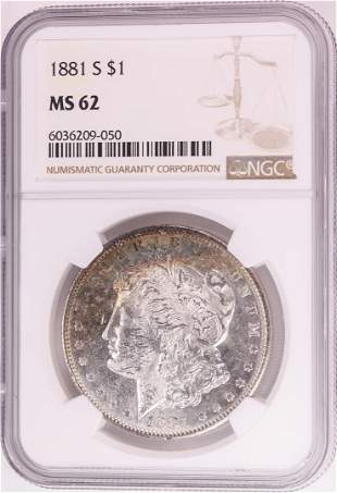1881-S $1 Morgan Silver Dollar Coin NGC MS62 Great