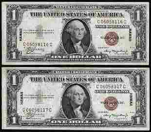 Lot of (2) Consecutive 1935A $1 Hawaii WWII Emergency