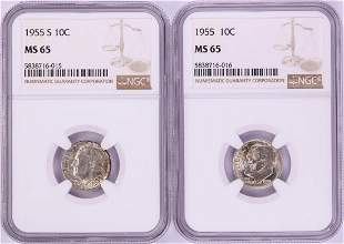 Lot of 1955 & 1955-S Roosevelt Dime Coins NGC MS65