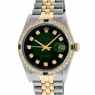 Rolex Men's Two Tone Green Vignette VS Diamond Oyster