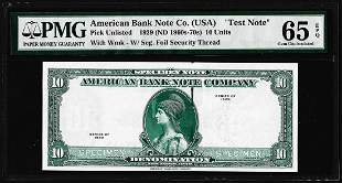 """1929 10 Unit American Bank Note Co. """"Test Note"""" PMG Gem"""