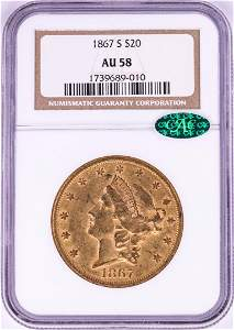 1867-S $20 Liberty Head Double Eagle Gold Coin NGC AU58
