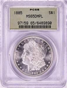 1885 $1 Morgan Silver Dollar Coin PCGS MS65DMPL Old