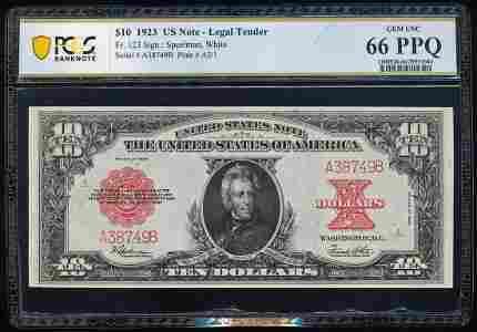 """1923 $10 """"Poker Chip"""" Legal Tender Note Fr.123 PCGS Gem"""