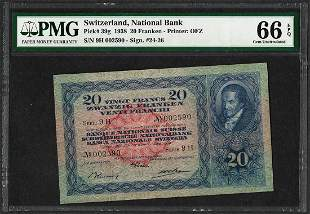 1938 Switzerland 20 Franken National Bank Note Pick