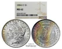 1884-O $1 Morgan Silver Dollar Coin NGC MS62 Great
