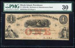 "1856 $1 ""Santa Claus"" M & M Bank Providence, RI"
