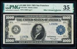 1918 $1,000 Federal Reserve Note San Francisco
