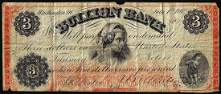 1862 $3 Bullion Bank Washington, D.C. Obsolete Banknote