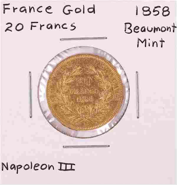 1858 Beaumont Mint France 20 Francs Gold Coin