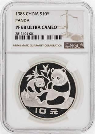 1983 China 10 Yuan Panda Silver Coin NGC PF68 Ultra
