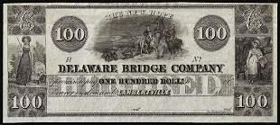1800's $100 Delaware Bridge Lambertville, N.J.