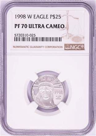 1998-W $25 Proof American Platinum Eagle Coin PCGS PF70